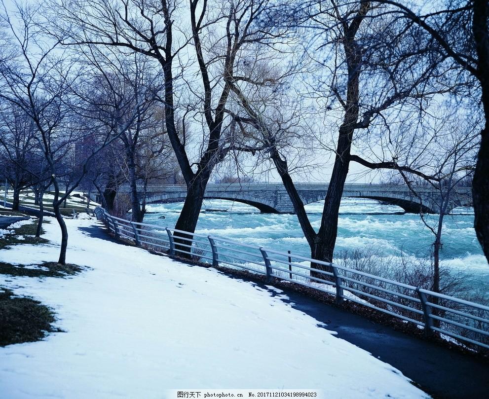 雪景 公园 河边 小河 树木 冬景 大雪 风景图片 摄影 自然景观