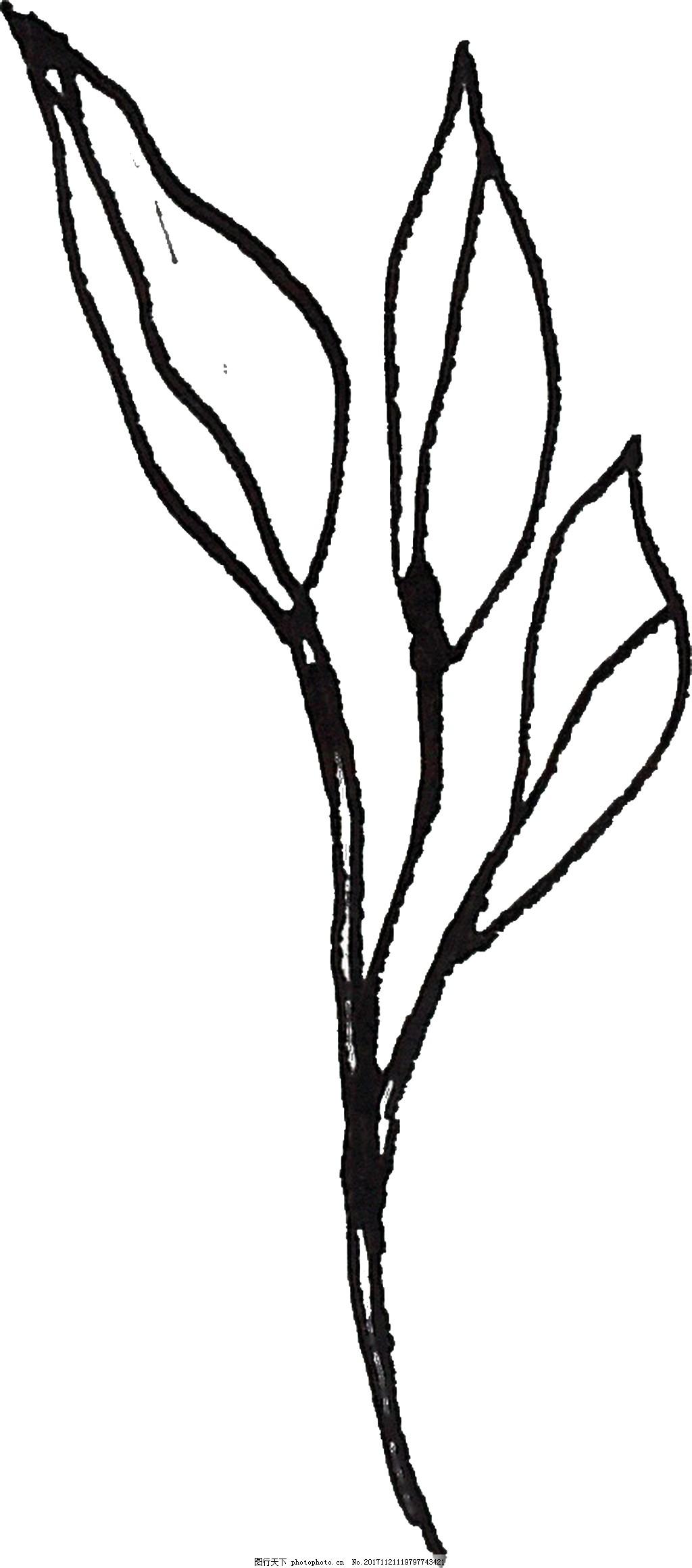 水墨三叶草卡通透明素材 黑色 草叶 透明素材 免扣素材 装饰图案