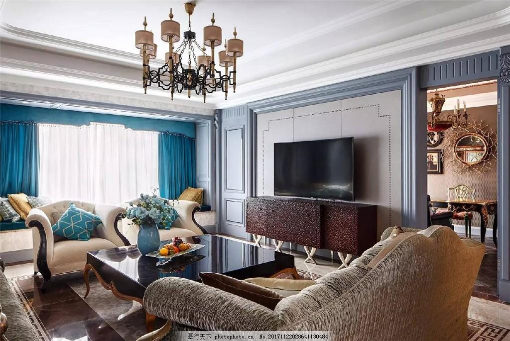 现代轻奢客厅蓝色窗帘室内装修效果图 客厅装修 褐色吊灯 花纹沙发