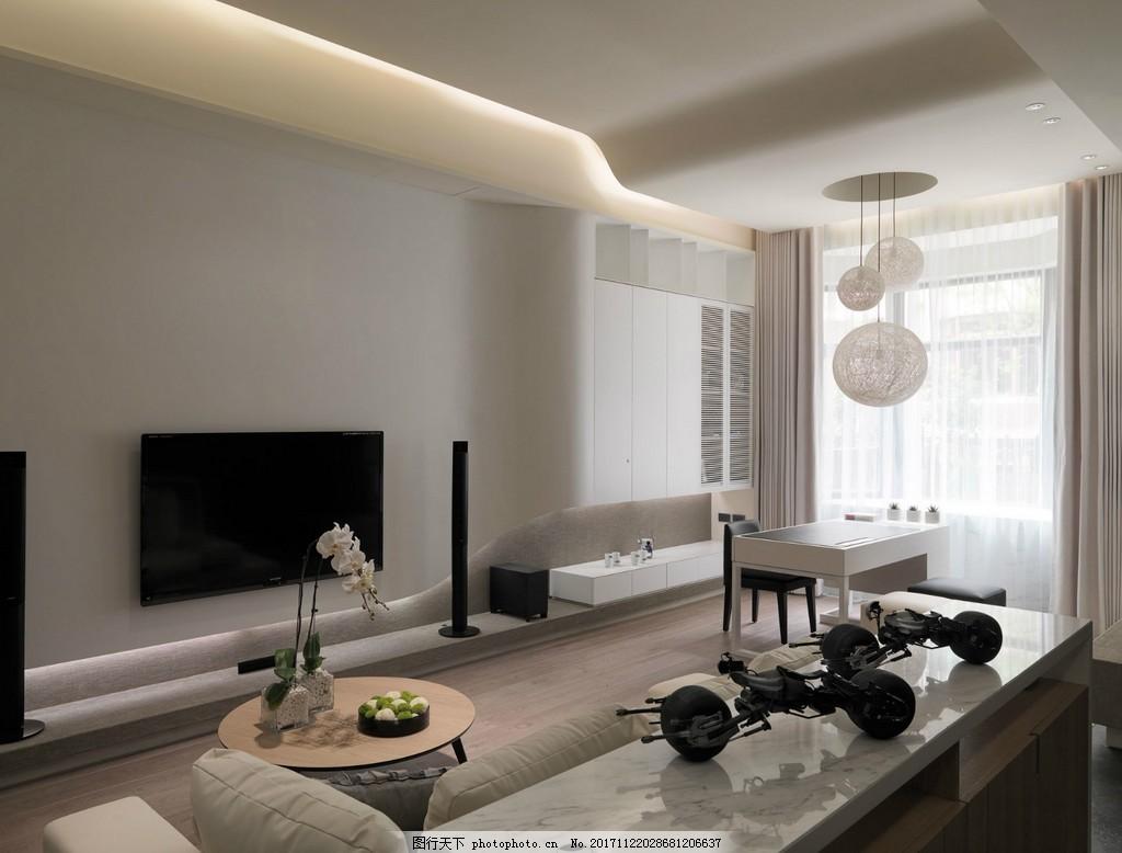 北歐簡單客廳淺灰色背景墻室內裝修效果圖