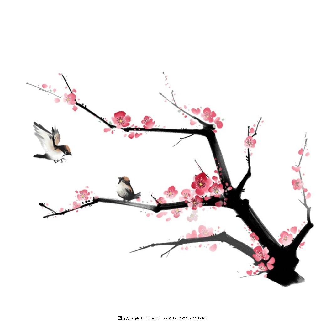 手绘喜鹊桃树元素