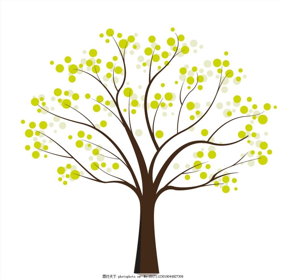 春天发芽的大树插画矢量素材图片