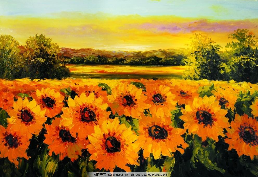 花卉 花海 油画 风景 水粉画 水彩画 空间      沙发      床头 走廊
