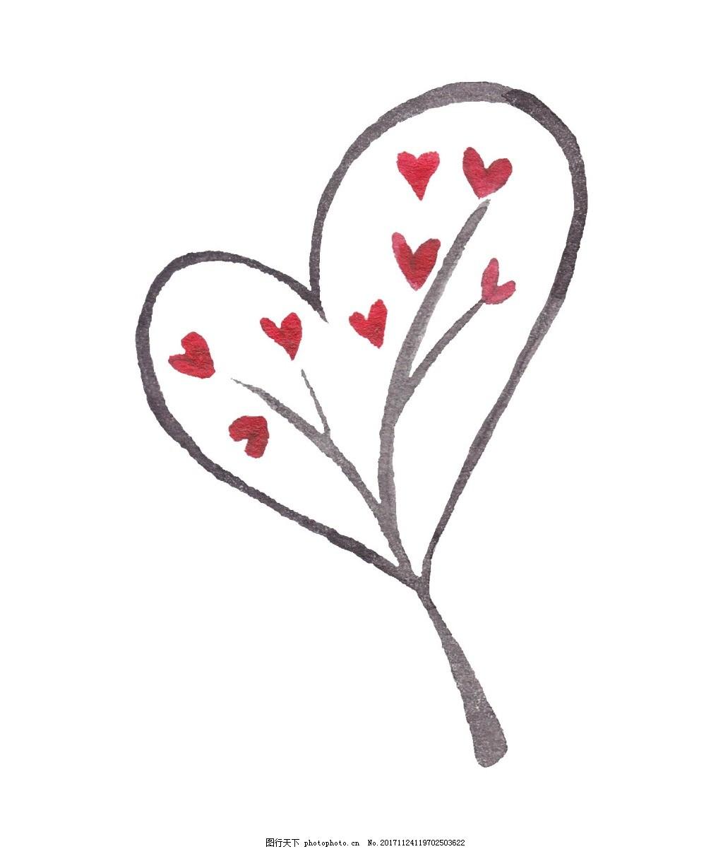 手绘心形树叶元素