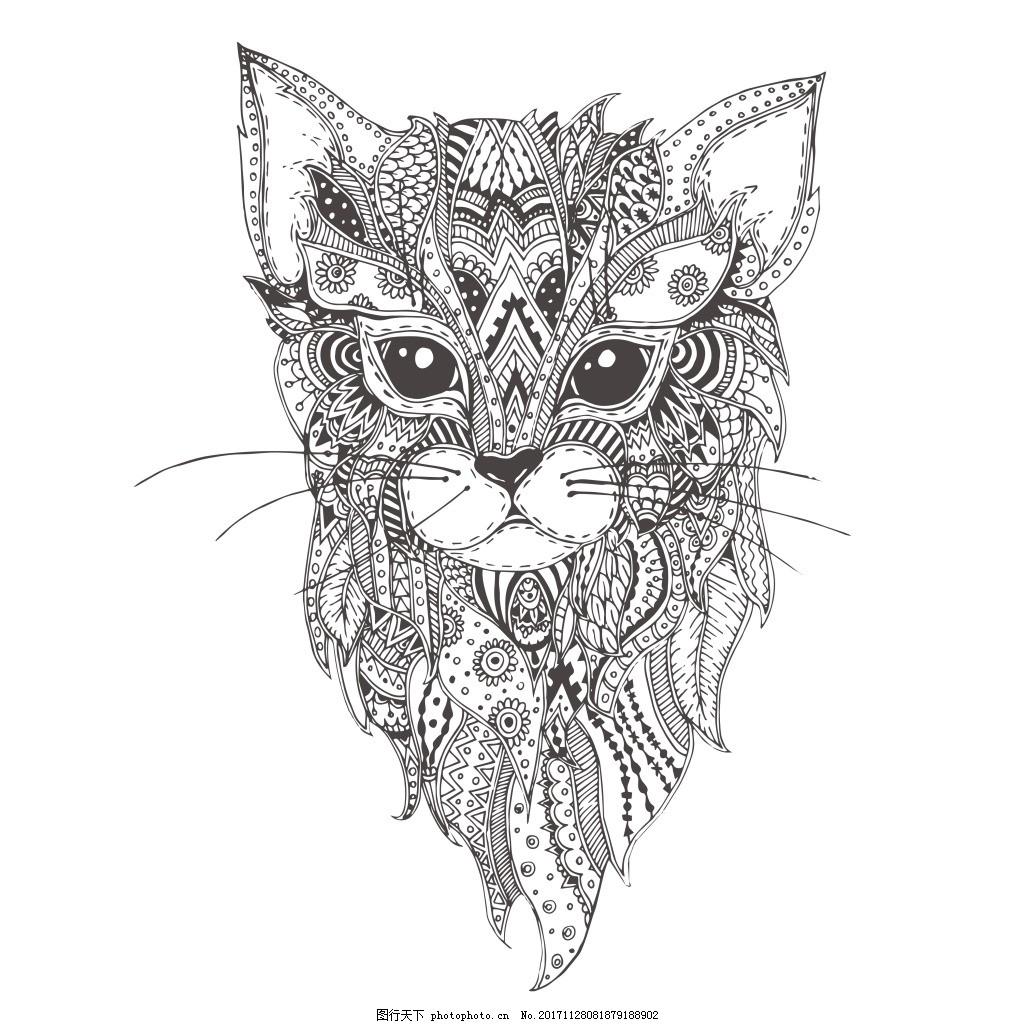 艺术时尚的小猫头像 手绘 黑白 动物 花纹