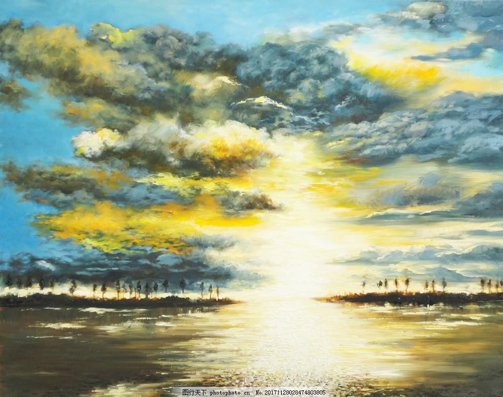 海面落日油画,海水 日落 夕阳 斜阳 蓝天 白云 水粉画