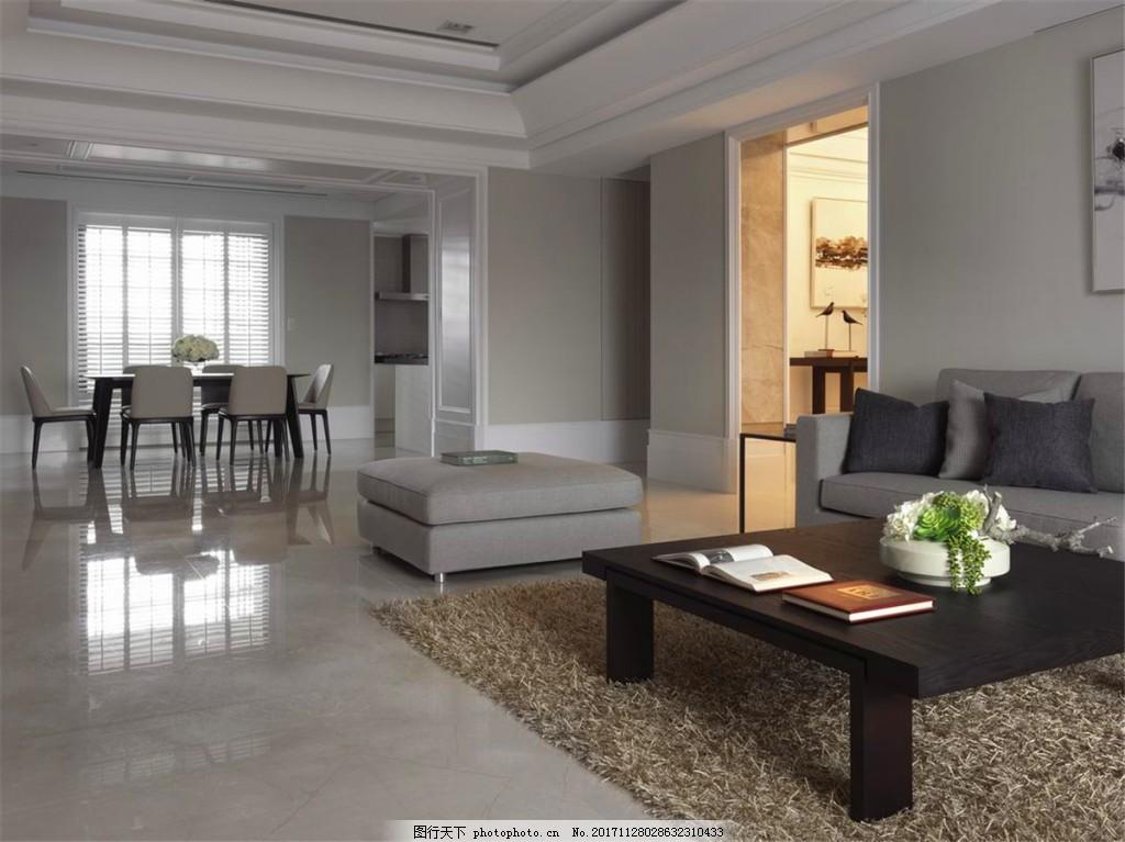 室内装修效果图 室内装修 客厅装修 浅灰色地板 深色茶几 浅色背景墙