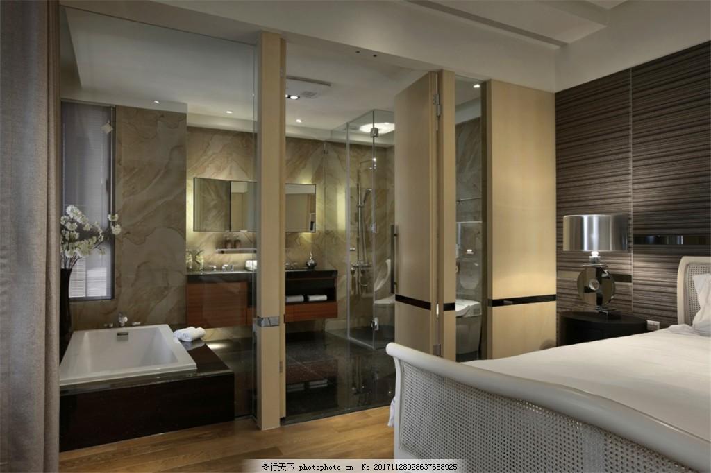 现代轻奢卧室玻璃推拉门室内装修效果图 客厅装修 玻璃门 深褐色背景