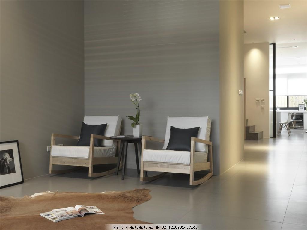 简约客厅灰色地板砖装修效果图