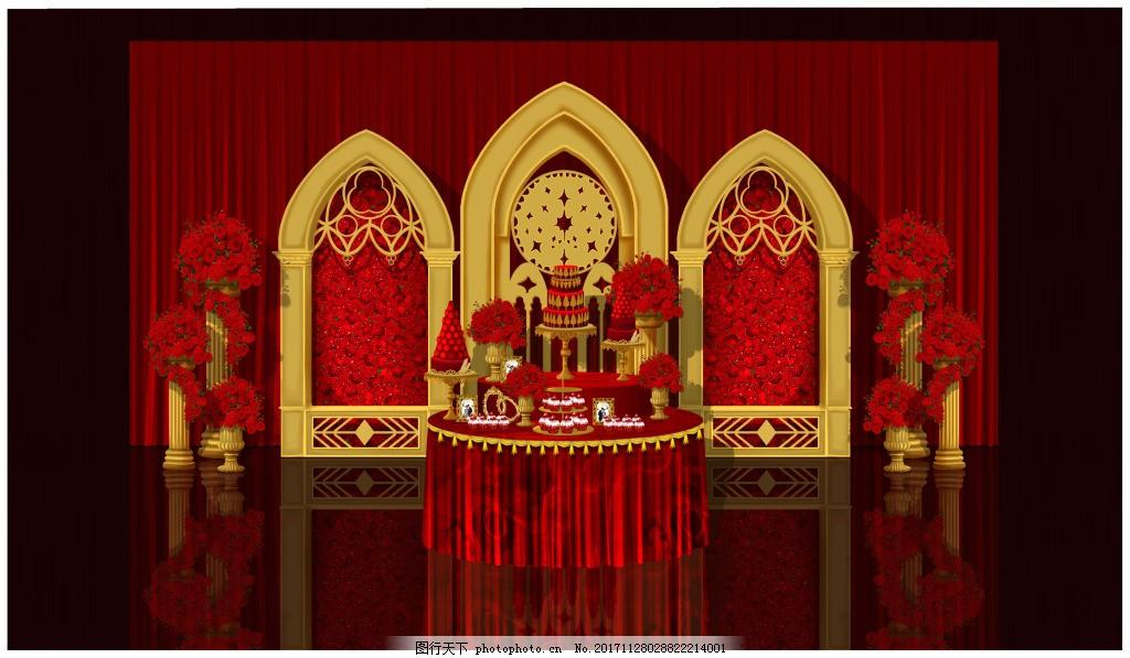 甜品区舞台装饰效果图 红金色甜品区 欧式甜品区 欧式婚礼 红金色婚礼