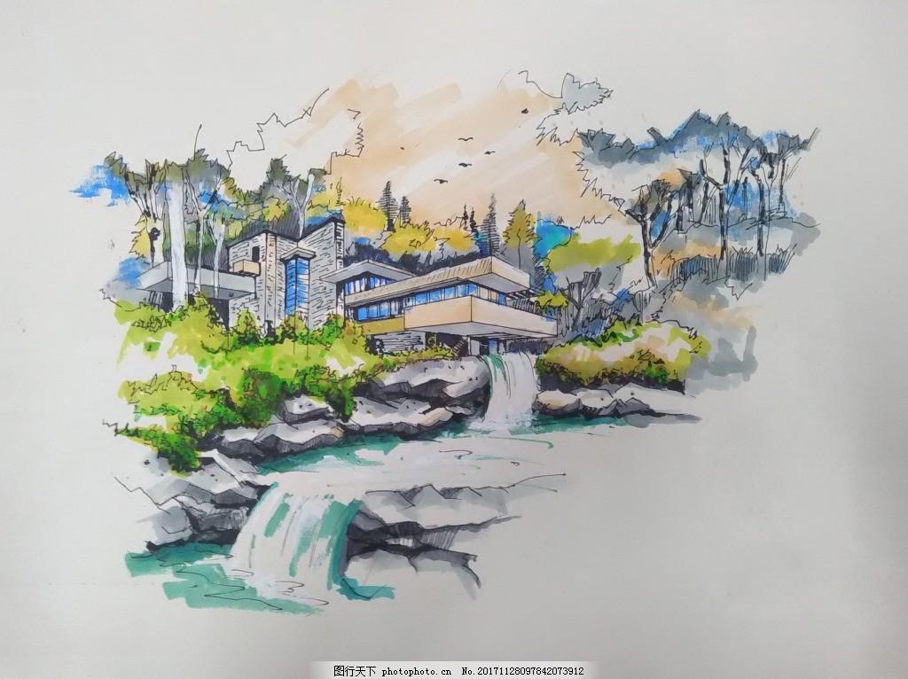 流水别墅马克手绘装饰画 奈特 马克笔 建筑景观 装饰画素材