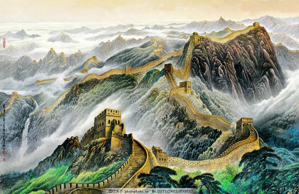 手绘工笔万里长城背景 中式 中国风 雄伟 广阔 中国古代 文明建筑
