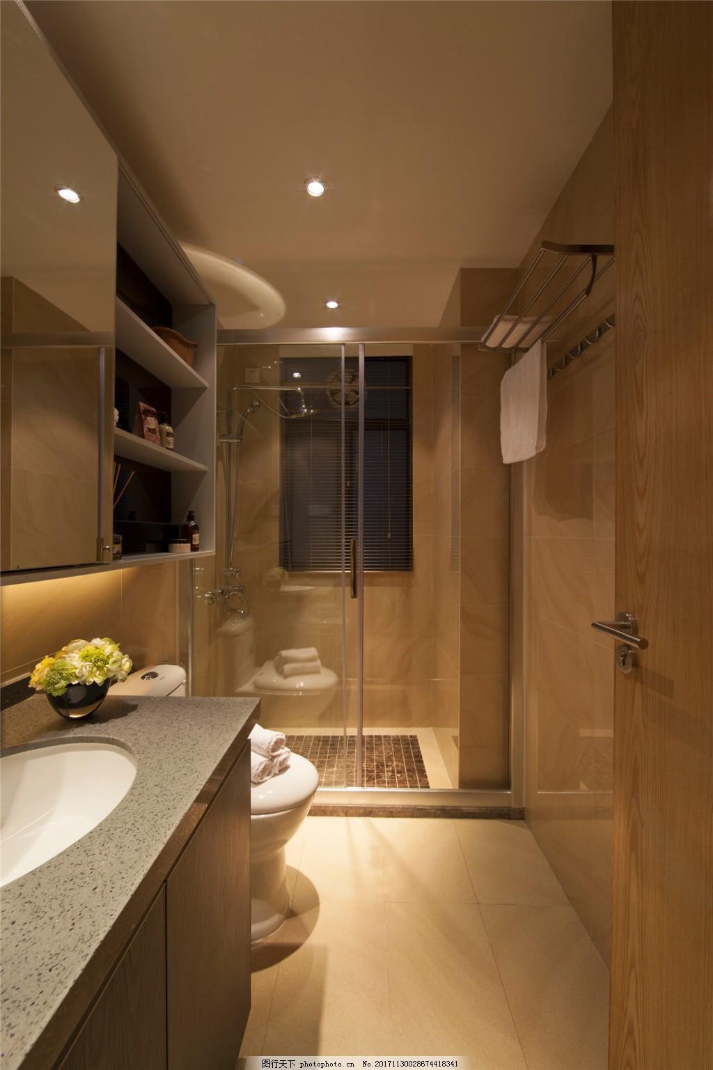 简约时尚卫生间洗手盆装修效果图 玻璃隔断 马桶 淋浴间 白色射灯