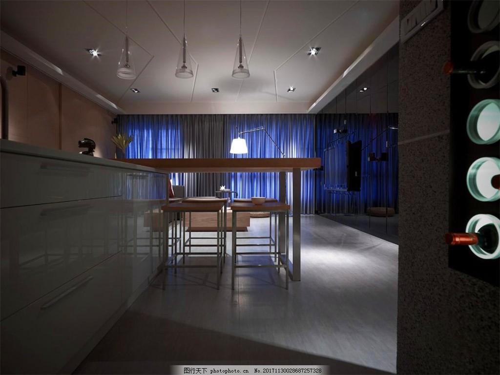 简约时尚餐厅吊灯装修效果图 白色射灯 方形吊顶 灰色铅笔 米色地板砖