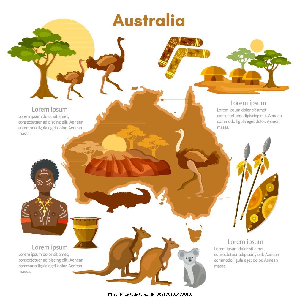 11款卡通澳大利亚旅行元素矢量图 特色 风情 动物 人物