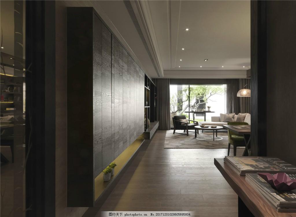 时尚走廊灰色地板砖装修效果图 白色射灯 灰色吊顶 置物柜 灰色墙壁