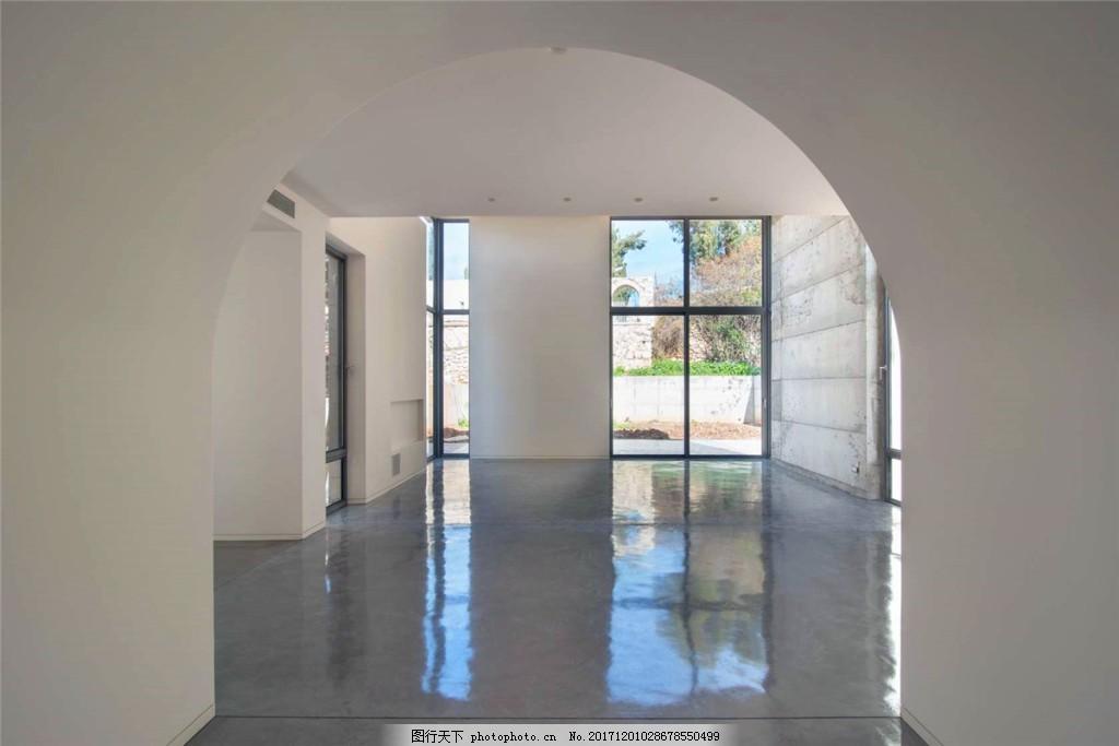 时尚大厅拱形门装修效果图 大厅 白色墙壁 窗户 灰色地板砖 落地窗