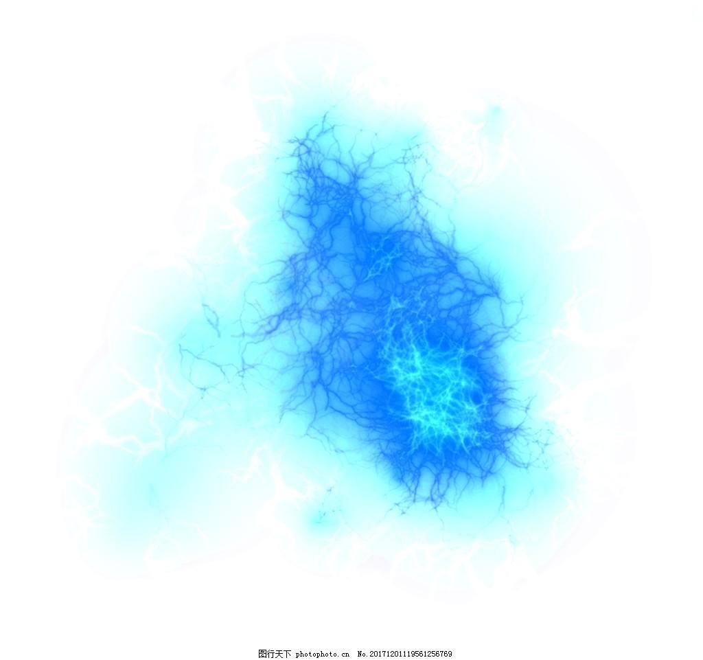 蓝色水墨透明素材
