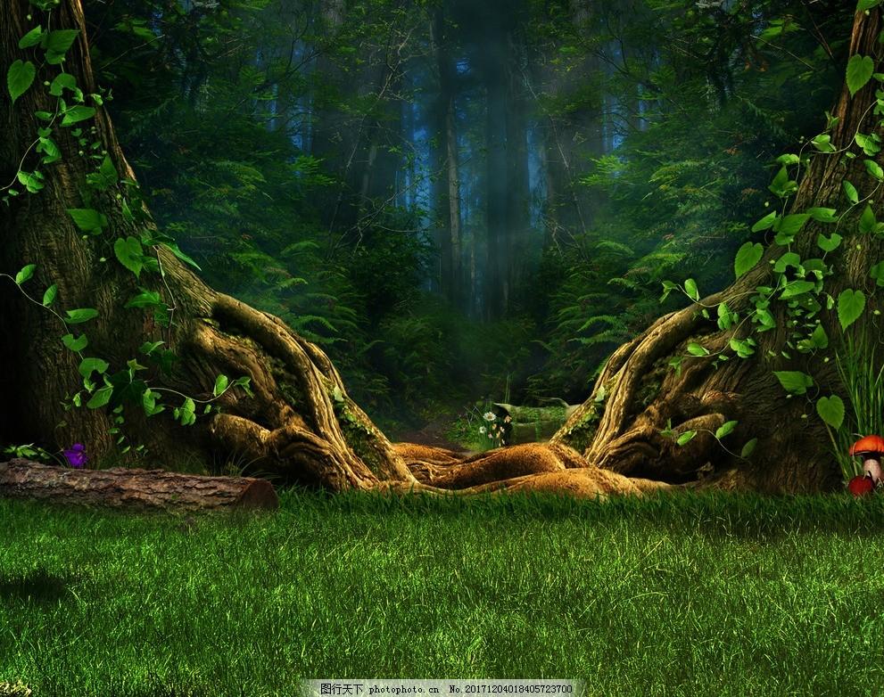 手绘原始森林 大树 大树根 草地 树林 卡通背景 植物 自然风光