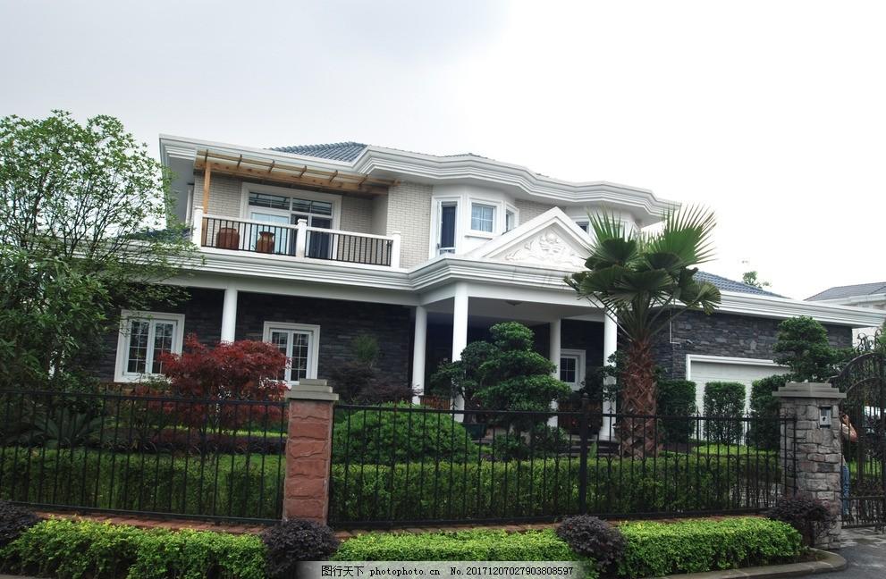别墅外观实景图 豪宅 建筑外观 建筑设计效果图 摄影 建筑园林