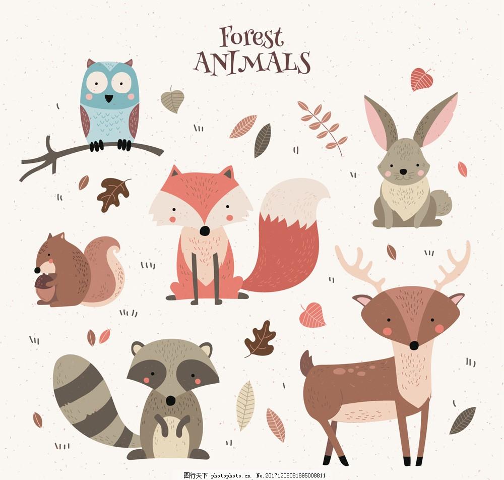 6款彩绘森林动物设计矢量图