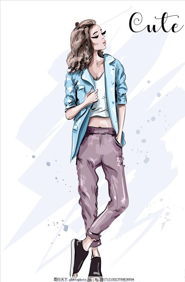 手绘时尚女子 女人 女性 模特 服饰 矢量 矢量人物