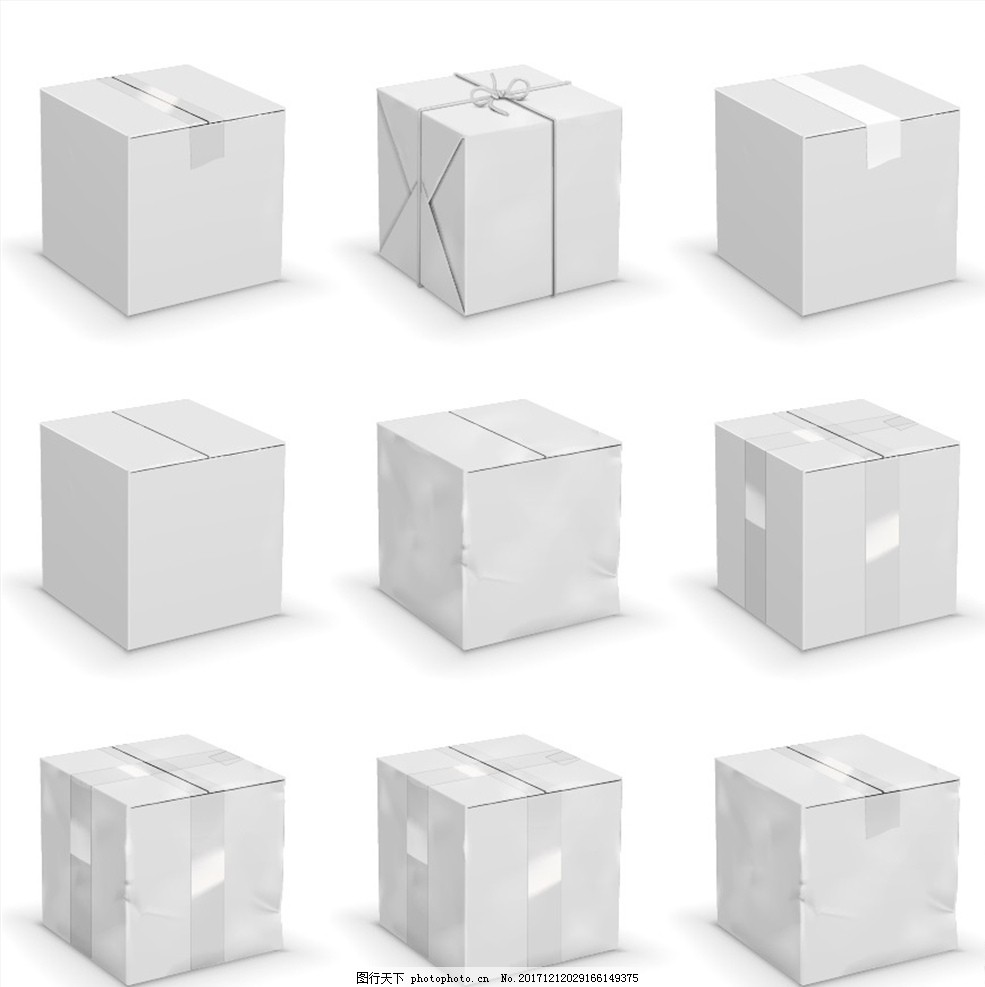 灰色的正方体小箱子矢量素材 灰白色 立方体 小盒子 礼物盒 造型礼盒