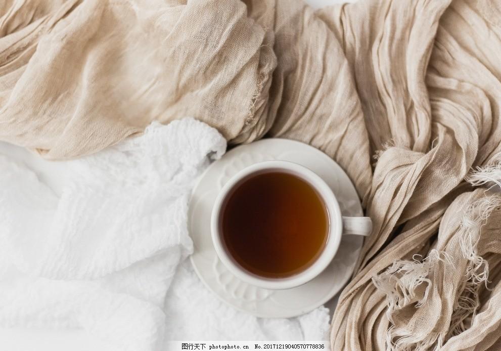 咖啡 唯美咖啡 好看的杯子 纱巾 下午茶 意境 丶美食图片 摄影图片