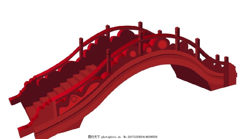 桥 红色 中国风 拱桥 花桥园艺桥