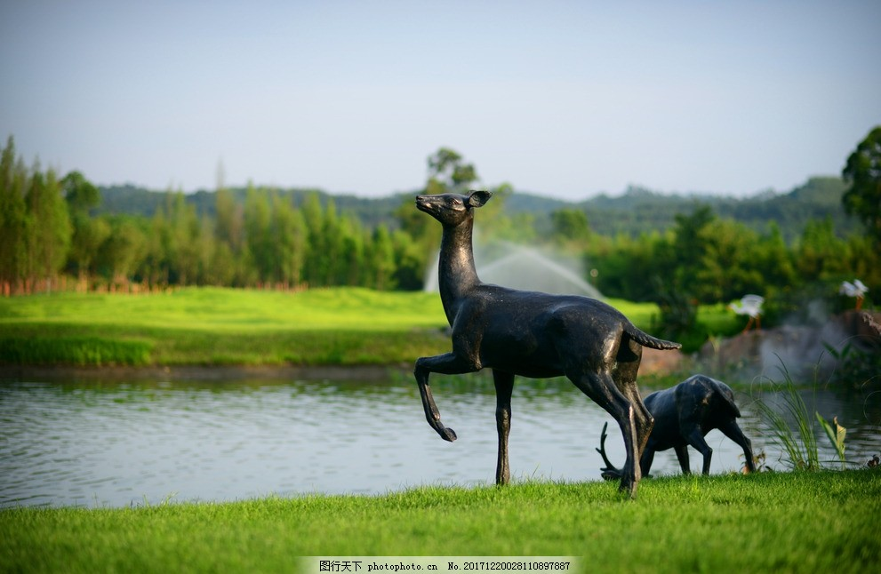 小品 雕塑小品 装饰 鹿 水边景观 景观小品 设计 环境设计 景观设计 3