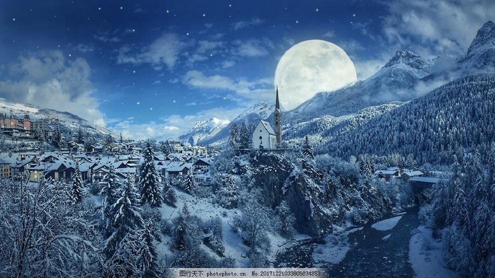 冬天夜景背景图片素材 雪夜风景 雪景 灯光 房屋 小屋 冬季夜景