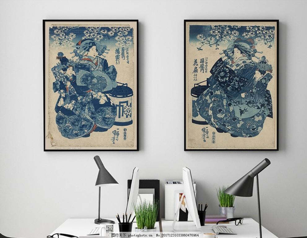 日本古风浮世绘美人仕女装饰画 日式 传统 风俗画 版画 艺伎 艺妓